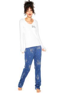 Pijama Hering Estampado Branco/Azul