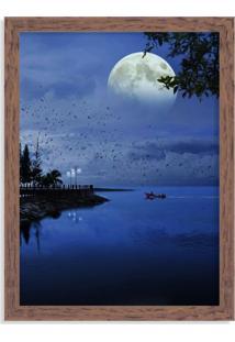 Quadro Decorativo Noite De Lua Cheia No Lago Madeira - Grande