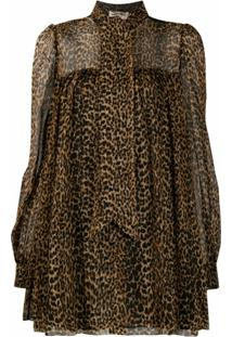 Saint Laurent Blusa Com Estampa De Leopardo - Marrom