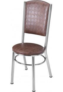 Cadeira Estofada Ca 996 Móveis Brastubo Cromado/Tabaco Quadriculado
