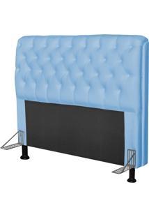 Cabeceira Paris Para Cama Box Casal 160 Cm Paris Corino Azul Bebê - Js Móveis