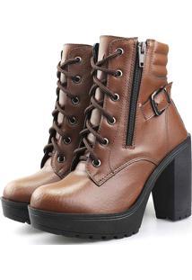 Bota Tratorada Com Fivela Touro Boots Feminina Capuccino Marrom - Cafã©/Caramelo/Castanho/Marrom - Feminino - Dafiti