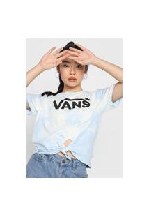 Camiseta Vans Hypno Script Bf Kn Tie Dye Azul/Off-White