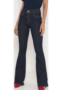 Jeans High Flare Com Bolsos- Azul Escuro- Lança Perflança Perfume