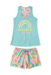 Pijama Curto Regata Colorido Malwee Liberta (1000059832) 100% Algodão