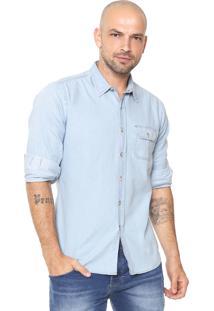 Camisa Jeans Sergio K Bolso Azul