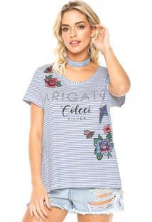Camiseta Linho Colcci Boy Bege/Azul
