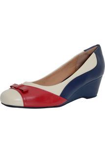 Sapato Laura Prado Confort Anabela Marfim/Vermelho