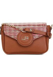 Bolsa Couro Jorge Bischoff Mini Bag Alça Corrente Feminina - Feminino-Marrom Claro