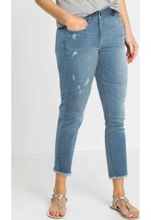 Calça Jeans Com Puídos Azul Claro