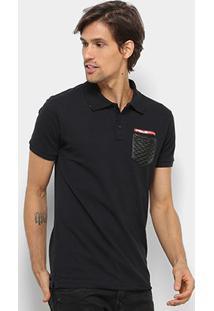 Camisa Polo Rg 518 Bolso Masculina - Masculino-Preto