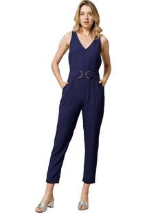 Macacão Mx Fashion Longo Com Fivela Doralice Azul Marinho