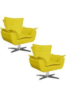 Kit 02 Poltronas Decorativas Gran Opala Base Estrela Em Aã§O Cromado Suede Amarelo - D'Rossi - Amarelo - Dafiti