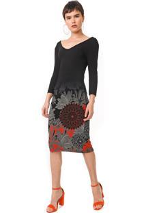 Vestido Desigual Midi Florencia Preto - Preto - Feminino - Viscose - Dafiti