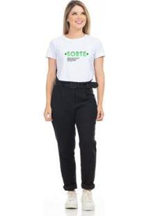 Camiseta Cropped Clara Arruda Viés Estampada 18020029 Feminina - Feminino-Branco