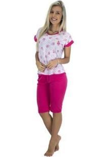 Pijama Pescador Blusinha E Calça Curta Mvb Modas Feminino - Feminino-Rosa