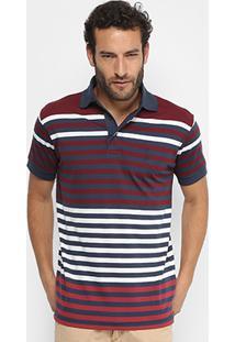 Camisa Polo Aleatory Fio Tinto Listrada Masculina - Masculino-Marinho