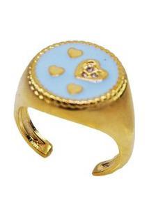 Anel Dedinho Coração Azul Banhado A Ouro 18K