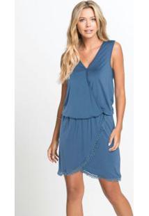 Vestido Transpassado Com Renda Azul