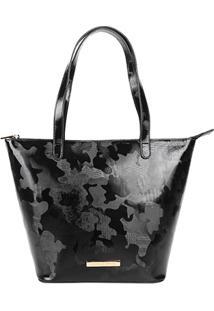 Bolsa Loucos & Santos Shopper Camuflada Verniz Feminina - Feminino-Preto