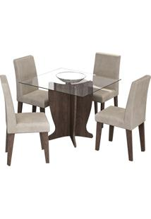 Sala De Jantar Luana 100 Cm Com 4 Cadeiras Marrocos Sued Bege
