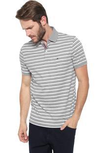 Camisa Polo Tommy Hilfiger Reta Murray Cinza