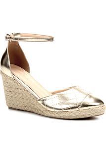 Sandália Anabela Shoestock Matelassê Corda Feminina - Feminino-Dourado