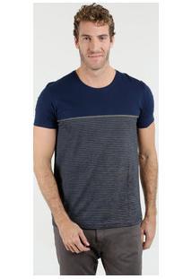 Camiseta Masculina Listrada Manga Curta Kohmar