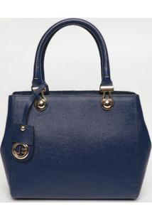 Bolsa Em Couro Com Bag Charm- Azul Marinho- 25X30X10Jorge Bischoff