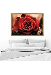 Quadro Love Decor Com Moldura Rosa Vermelha Dourado Mã©Dio - Multicolorido - Dafiti