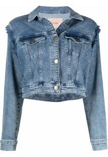 Twinset Jaqueta Jeans Com Detalhe De Babados - Azul