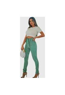 Calça Feminina Três Marias Pantacourt Clochard Listrada Verde