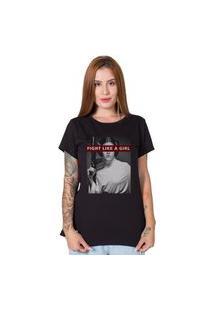 Camiseta Stoned Fight Like A Girl Preto