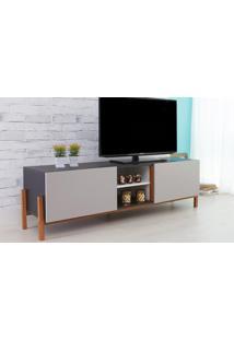 Rack Para Tv Preto Moderno Vintage Retrô Com 2 Portas Cinza Eric - 166X43,6X48,5 Cm