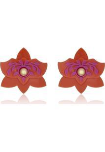 Brinco Le Diamond Orquídea P Laranja