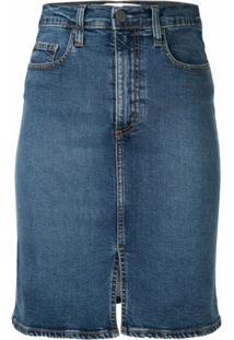 Nobody Denim Saia Jeans Siren Split - Azul