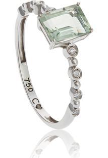 Anel De Ouro Branco 18K Aro Com Diamantes E Pedra De Prasiolita