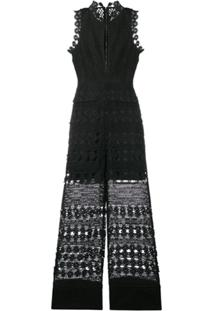 Self-Portrait Embroidered Jumpsuit - Preto