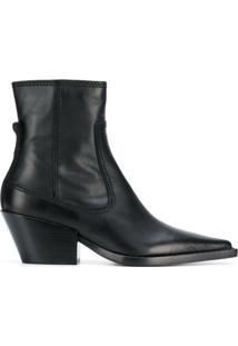 Joseph Ankle Boot Bico Fino De Couro - Preto