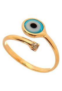 Anel Em Olho Grego & Zircã´Nia Banhado A Ouro- Dourado & Isabela Borgonian