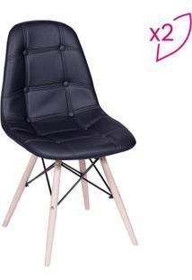 Jogo De Cadeiras Eames Botonê- Preto & Madeira Claraor Design