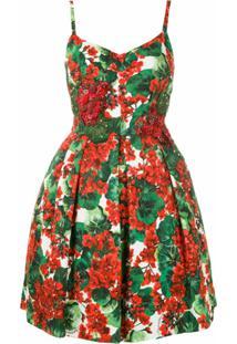 Dolce & Gabbana Vestido Curto Estampado Com Bordados - Vermelho