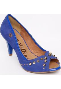 Peep Toe Em Couro Com Rebites- Azul Escuro & Douradocarmen Steffens