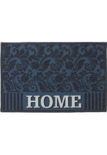 """Tapete """"Home""""- Azul Escuro & Branco- 60X40Cm- Kakapazi"""