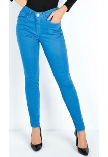 Calça Azul Eventual Skinny Com Bordado