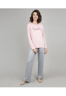 "Pijama Feminino ""Anything Is Possible"" Manga Longa Rosa"