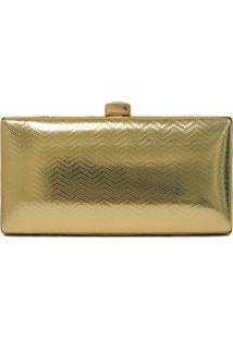 Clutch Lisbella Textura Zig Zag Dourado