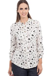 Camisa Love Poetry Estampada Bege