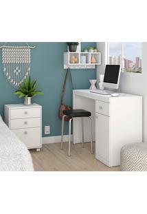 Mesa Para Computador, Gaveteiro E Nicho Bkd05 - Brv - Branco