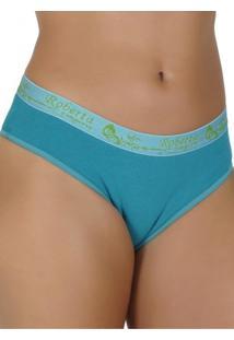 Calcinha Click Chique Básica Em Cotton Liso Com Elástico Exposto Verde